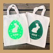 Pour vos fêtes de Pâques, pensez aux mini tote bags pour la chasse aux œufs ! 🐰🍫 #pâques #chasseauxoeufs