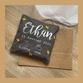 Bienvenue bébé Ethan ! 👶🏼💙 #coussindenaissance #coussinpersonnalisé